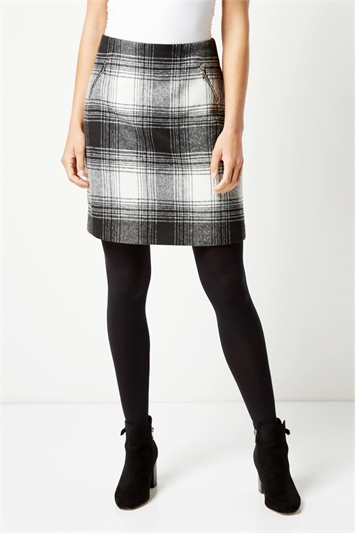 Checked Zip Detail Brushed Skirt