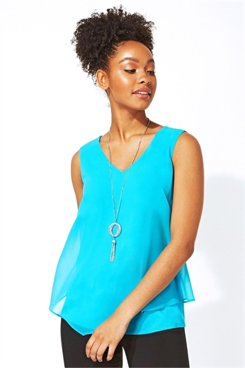 Chiffon Vest Top with Necklace