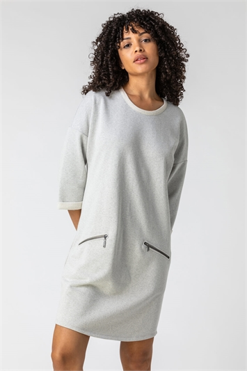 Grey Zip Pocket Detail Jumper Dress