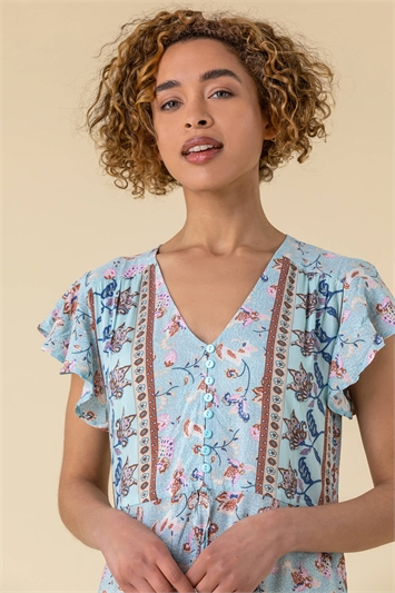 Frill Tie Waist Floral Dress