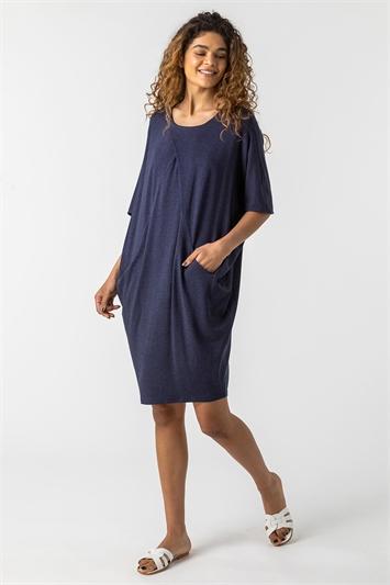Navy Oversized Cocoon Dress
