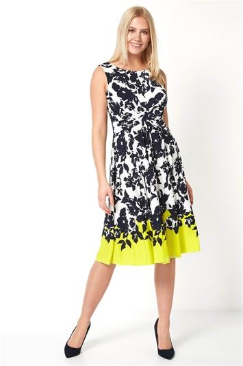 Floral Border Print Twist Waist Dress