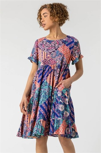 Paisley Patchwork Tiered Dress