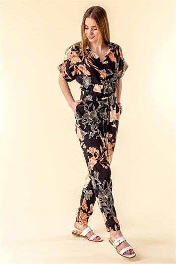 Belted Floral Print Jumpsuit