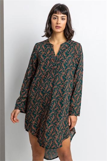 Dark Green Floral Print Asymmetric Tunic Dress