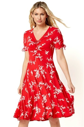 Floral V-Neck Short Sleeve Dress