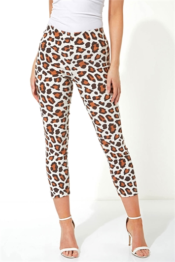Animal Print 3/4 Length Stretch Trousers