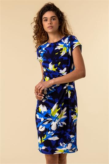 Floral Print Side Twist Dress