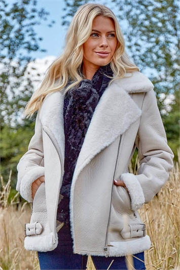 Faux Fur Lined Zip Detail Aviator Jacket