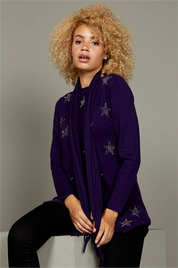 Purple Star Print Knitted Tunic with Scarf
