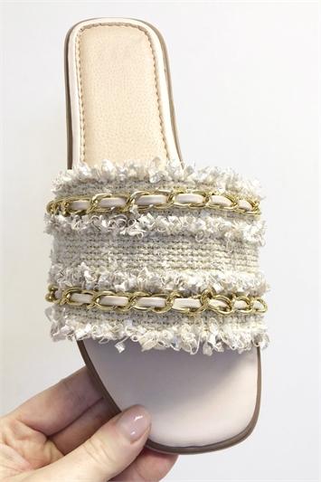 Woven Gold Detail Slider Sandals