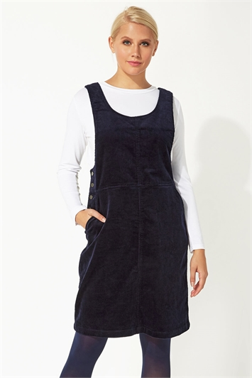 Button Corduroy Pinafore Dress