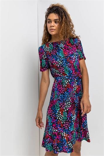 Purple Scatter Spot Print Frill Dress