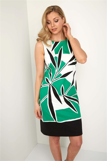 Leaf Print A Line Cotton Dress