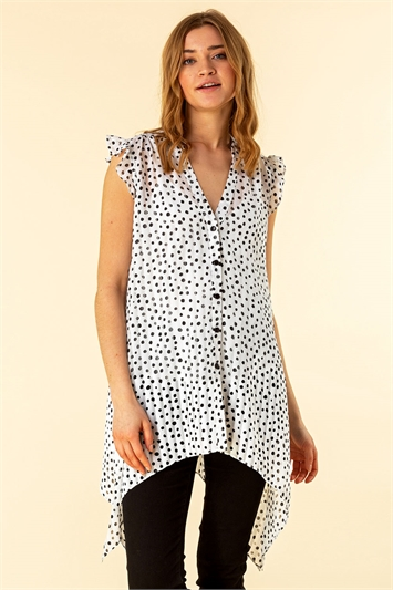 Ruffle Spot Print Button Through Blouse