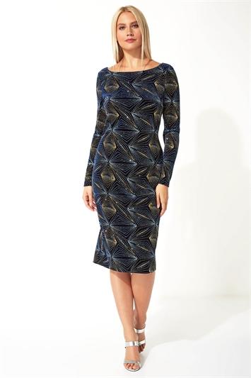 Glitter Long Sleeve Velvet Dress