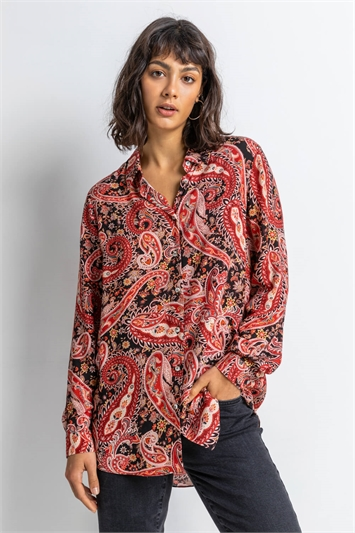 Red Paisley Print Buttoned Shirt