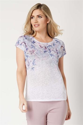 Floral Embellished Burnout T-Shirt