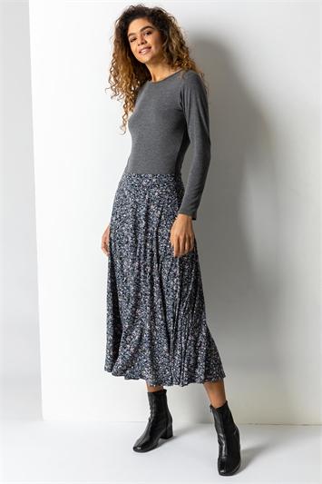 Blue Ditsy Floral Burnout Midi Skirt, Image 1 of 4