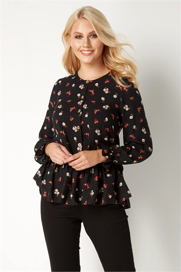 Floral Button Front Peplum Top