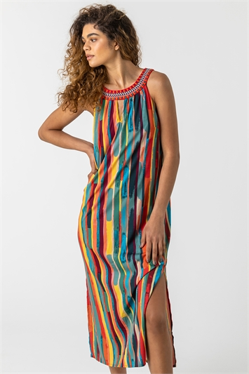 Multi Stripe Print Embroidered Maxi Dress