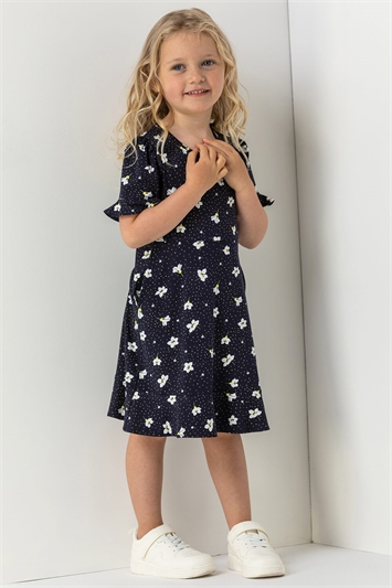 Navy Girls Floral Print Fluted Tea Dress