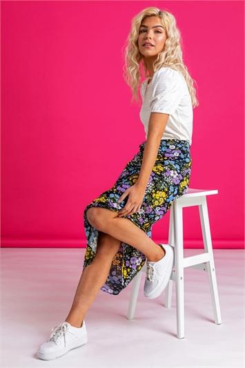 Floral Print Jersey Skirt