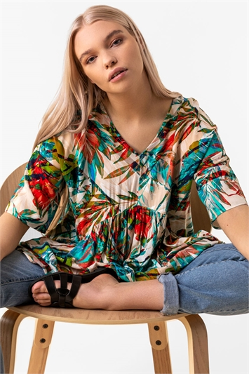 Tropical Print Tiered Top
