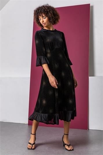 Black Velvet Sparkle Frill Detail Dress