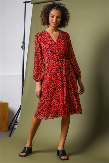 Red Animal Print Belted Wrap Dress