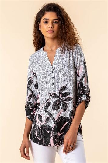 Floral Hem Spot Print Shirt