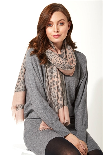 Contrast Animal Print Scarf