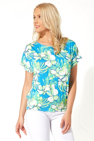Tropical Print Shirred Hem Top