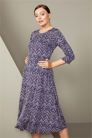 Zig Zag Print Midi Dress