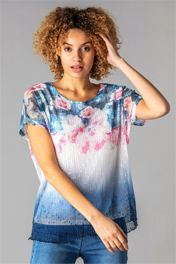 Mesh Overlay Floral Ombre T-Shirt