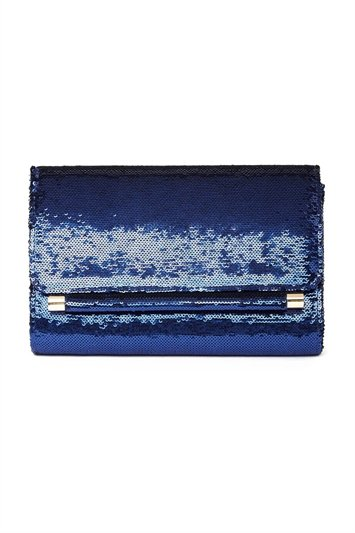 Sequin Foldover Metal Bar Clutch Bag