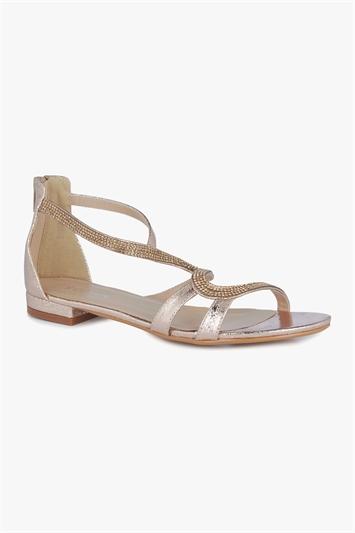 Diamante Studded Flat Sandals