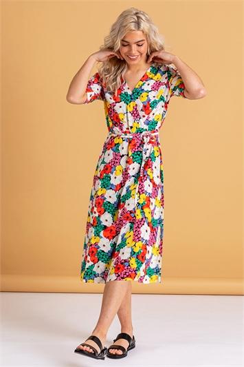 Bold Floral Midi Wrap Dress