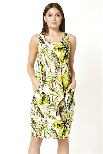 Palm Print Pocket Cocoon Dress