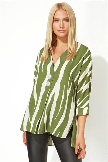 Khaki Zebra Print Button Overshirt