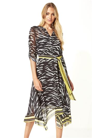 Zebra Print Chiffon Shirt Midi Dress