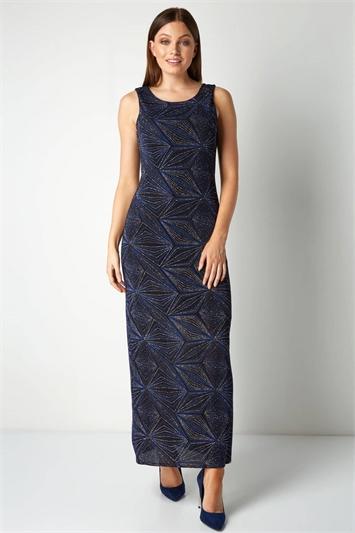 Geometric Glitter Print Maxi Dress