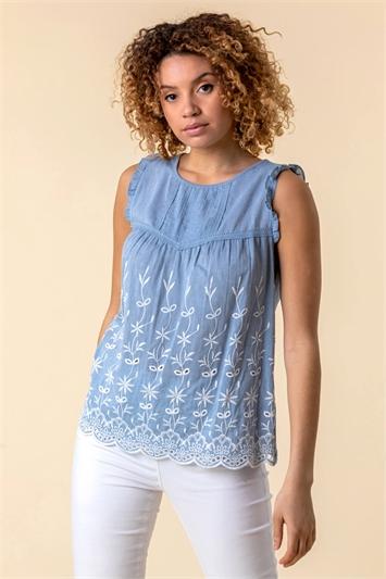 Light Blue Embroidered Pintuck Detail Top