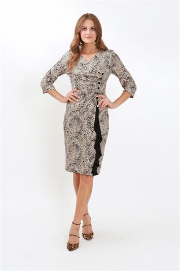Julianna Leopard Print Frill Detail Dress