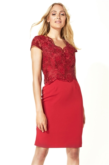 Lace Overlay Fitted Dress