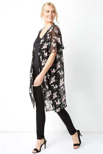 Floral Embroidered Longline Jacket