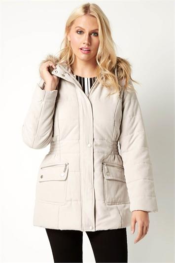 Hooded Microfibre Coat