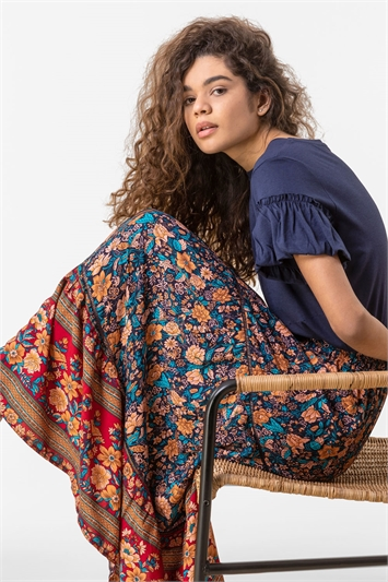 Floral Border Print Maxi Skirt