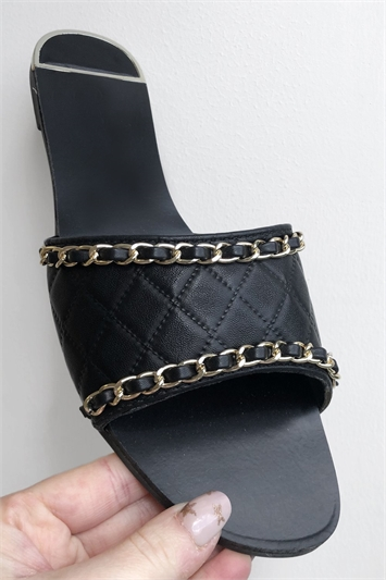Black PU Quilted Gold Chain Slider
