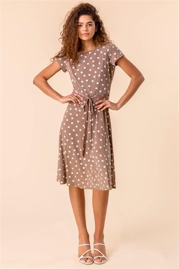 Spot Print Jersey Stretch Dress